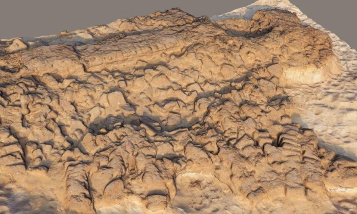 A 3D presentation of an Hellenistic period (2nd century BCE) collapse of mud-brick structures. (Philip Sapirstein)
