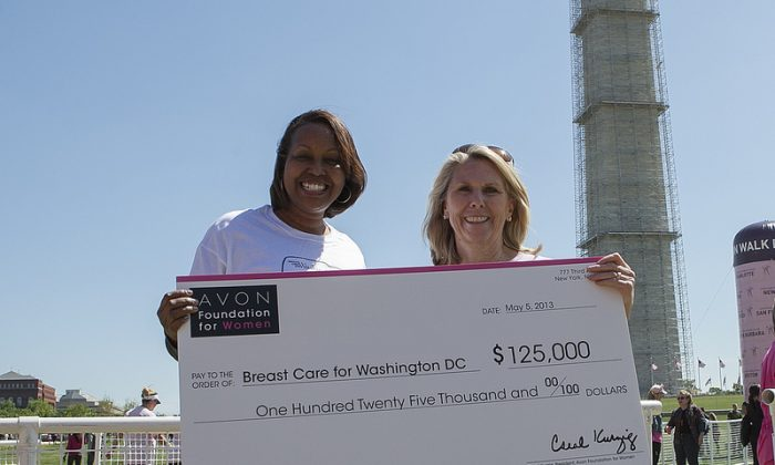 Avon Foundation for Women President Carol Kurzig presents Dr. Regina Hampton with a $125,000 grant for Breast Care for Washington at the 11th annual Avon Walk for Breast Cancer in Washington, D.C. (Avon Foundation for Women)