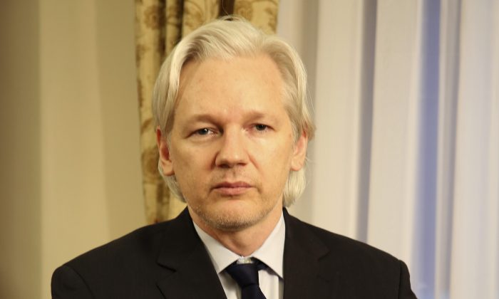 WikiLeaks founder Julian Assange in the Ecuadorian Embassy in London on July 30, 2013. (Sunshine Press Productions via AP)