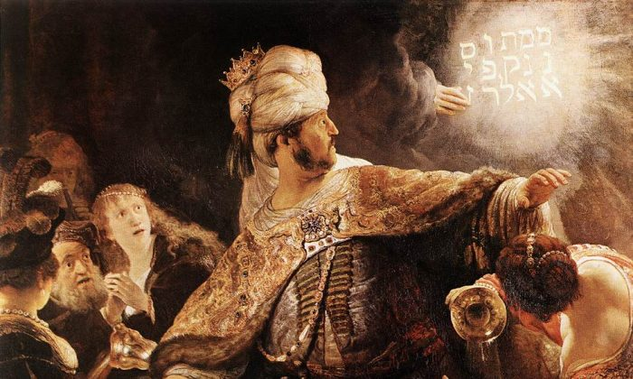 """Belshazzar, in charge of Babylon, while his father, King Nabonidus, is abroad, gets a warning by a ghost hand on a wall. First stunned, he then continues his immoral lifestyle and gets killed the same night, while the Persian king Cyrus conquers Babylon. """"Belshazzar's Feast,"""" by Rembrandt, 1635. (Art Renewal Center)"""