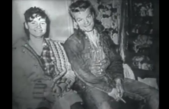 Caril Ann Fugate, now Caril Ann Clair (L) and her then boyfriend Charles Starkweather, as shown in a pre-1958 photo on 'A Current Affair.' Starkweather went on a killing rampage in 1958, during which Fugate was allegedly his accomplice. (Screenshot/YouTube)