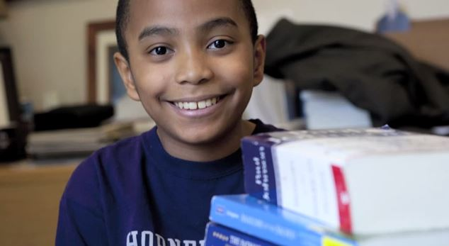 Carson Huey-You, 11, who scored 1770 on the SAT and is attending college at TCU. (Screenshot/YouTube)