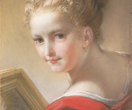 """A partial view of """"Study of a Girl in Red"""" by Benedetto Luti. (The Metropolitan Museum of Art)"""