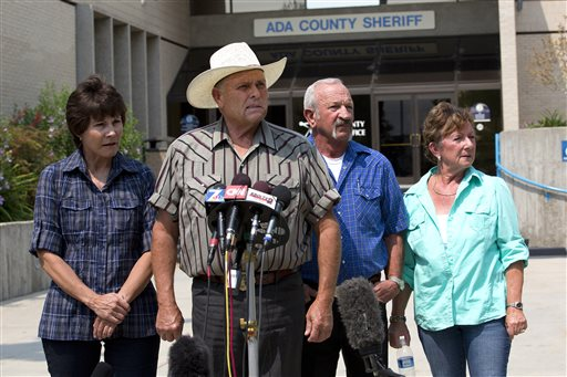 Standing out in front of the Ada County Sheriff's Office in Boise, witnesses, from left to right, Mary Young, Mike Young, Mark John and Christa John speak with news reporters Sunday Aug. 11, 2013 about their sighting of Hannah Anderson and James DiMaggio out Morehead Lake. Anderson and suspected kidnapper DiMaggio stuck out in the Idaho wilderness, said the horseback riders. (AP Photo/UT San Diego, Nelvin C. Cepeda)
