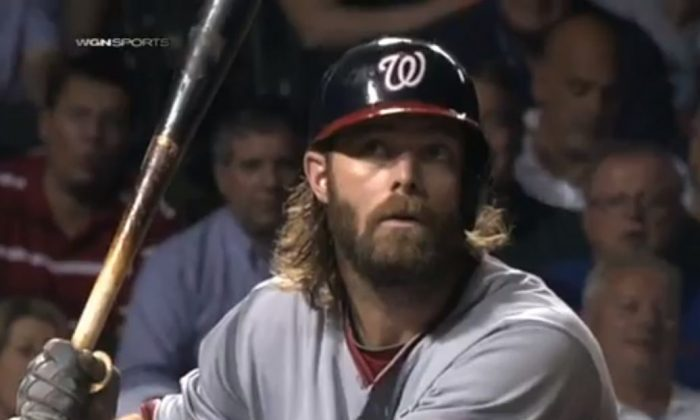 Jayson Werth looks up after the eephus pitch on Wednesday night (Screenshot/MLB)