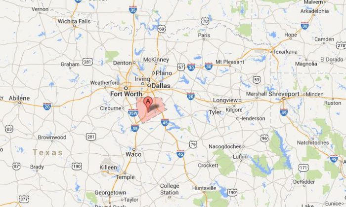 A screenshot of Google Maps shows Ellis County, Texas.