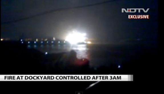 A still of a video that captured the explosion in the early hours at the Indian Navy base on August 14. (Screenshot/NDTV)