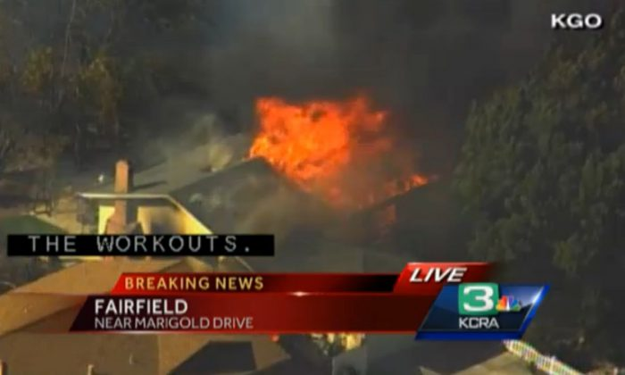 A screenshot of KCRA-3 shows a burning home in Fairfield.
