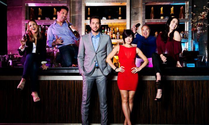 "(L–R) Sara Chase, Kristoffer Cusick, Zachary Levi, Krysta Rodriguez, Blake Hammond, and Vicki Noon appear in ""First Date."" (Matthew Murphy)"