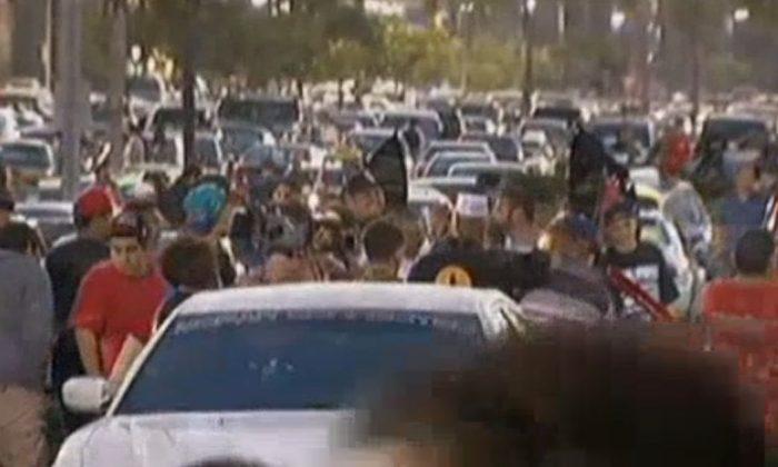 "A screenshot of NBC shows the ""flash mob."""