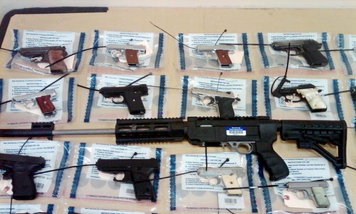Firearms turned in during a gun buyback event in Brooklyn, New York, March 30, 2013. (New York City Police Department/AP photo)