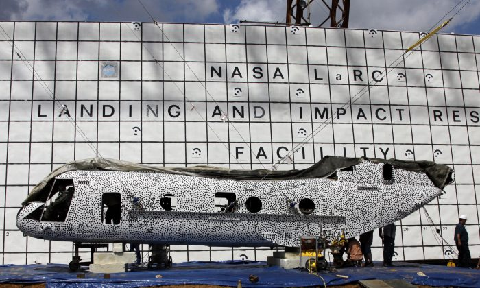 NASA's Langley Research Center engineers are scheduled to crash test a former Marine helicopter at the historic Landing and Impact Research facility. The fuselage is painted in black polka dots as part of a high speed photographic technique. (NASA Langley/David C. Bowman)