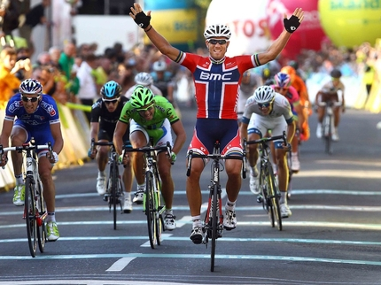 Thor Hushovd wins Stage Five, his second stage win in the 2013 Tour de Pologne. (bmcracingteam.com)