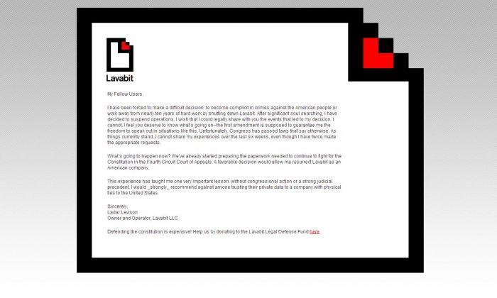 A screenshot shows Lavabit's website.