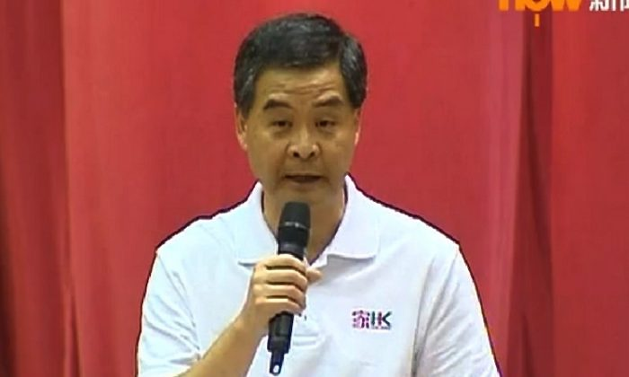 Leung Chun-ying, the chief executive of Hong Kong, called for an investigation of the schoolteacher Lam Wai-sze on Aug. 11, in remarks that astounded educators in the city. Lam had criticized the police in public, and Leung appeared to be throwing his support behind pro-Beijing forces, whom Lam said the police were protecting. (Screenshot/Epoch Times)