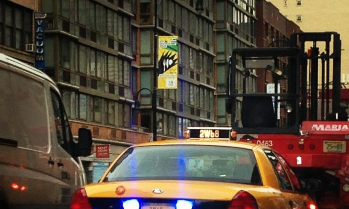 A taxi used by the NYPD to pull people over and for other work. (Jan Jekielek/Epoch Times)