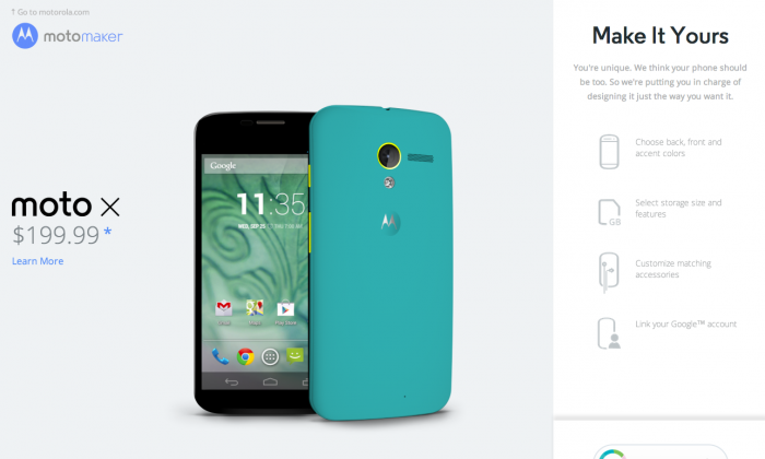 """A screenshot of Motorola's """"Moto Maker,"""" which lets you customize your Moto X phone. The price difference in assembling the Moto X in the United States compared to Asia is only $4, according to research firm IHS iSuppli. (Epoch Times)"""