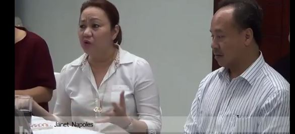 Businesswoman Janet Napoles, left, during a question and answer at the Philippine Daily Inquirer earlier last year. She surrendered to the Philippine president on August 28, 2013. (Screenshot/YouTube)