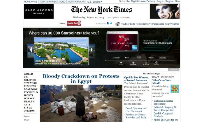 (Screenshot of the Times' website on 1:53 p.m.)