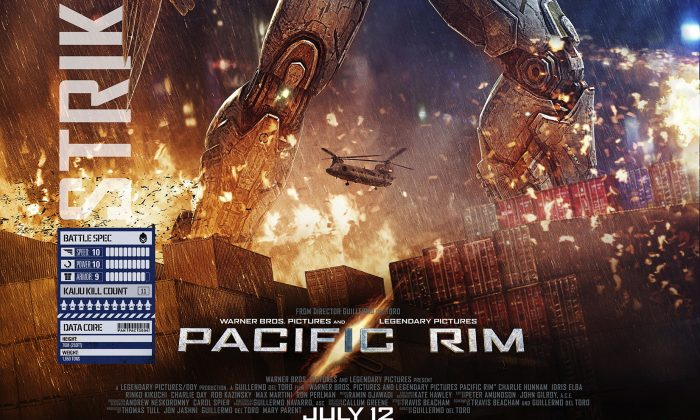 """Poster for the film """"Pacific Rim,"""" which has grossed nearly $400 million. An editorial published in the PLA Daily claims the film is Hollywood propaganda. (Warner Bros)"""