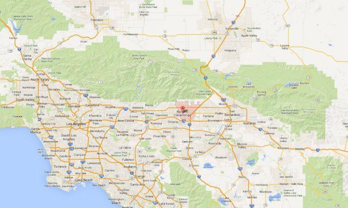 A Google Maps screenshot shows Rancho Cucamonga in Southern California.
