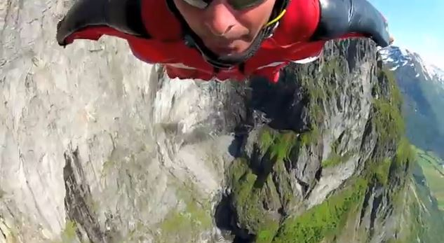 This screenshot from YouTube shows Mark Sutton, a prolific wing-diver, flying last year. Sutton died after crashing in the Swiss Alps on August 14, 2013. (Screenshot/YouTube)