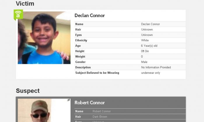 Declan Connor and Robert Connor. Robert is accused of killing Declan's grandmother then taking Declan; an amber alert has been issued in Sand Springs, Oklahoma. (Amber Alert)