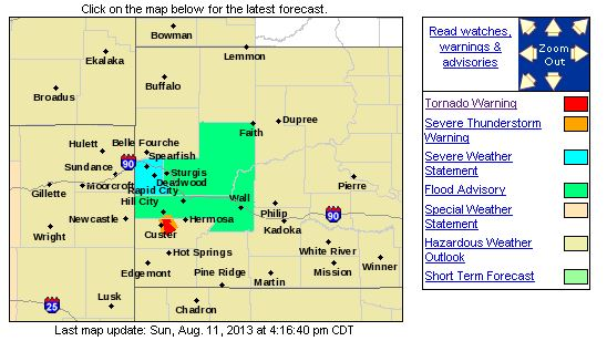 The red area indicates the area under a tornado warning. (National Weather Service)