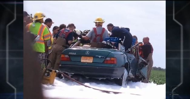 An image shows the scene of the accident involving Katie Lentz and Aaron Smith. (Screenshot/YouTube)