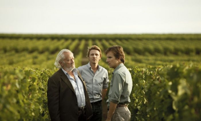 """Paul de Marseul (L, played by Niels Arestrup) is a proprietor of a prestigious family wine estate with his son and heir Martin (R, played by Lorànt Deutsch) in the dramatic film """"You Will Be My Son."""" (Courtesy of Cohen Media Group)"""