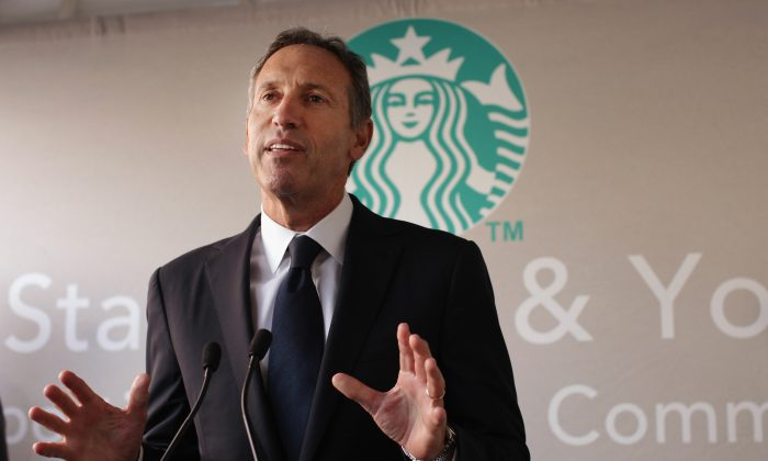 Starbucks CEO Howard Schultz, in this 2011 file photo, said on September 17, 2013, that Starbucks is asking customers not to carry guns into Starbucks stores or the open-seating areas around stores, even in open carry states. (Spencer Platt/Getty Images)