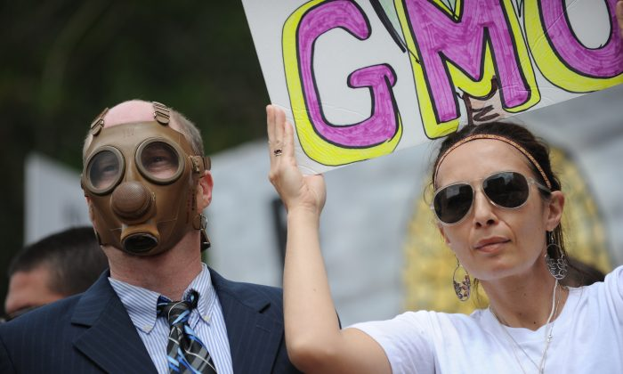 People carry signs during a protest against agribusiness giant Monsanto in Los Angeles on May 25. Marches and rallies against Monsanto and genetically modified organisms (GMO) have been on the rise nationwide. (Robyn Beck/AFP/Getty Images)
