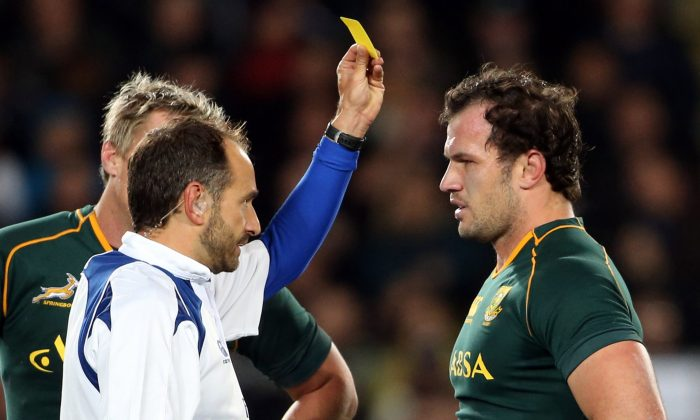 South Africa Springbok hooker Bismarck du Plessis receives his first yellow card during their Rugby Championship match against New Zealand All Blacks at Eden Park Auckland New Zealand on Sept 14, 2013. (MICHAEL BRADLEY/AFP/Getty Images)