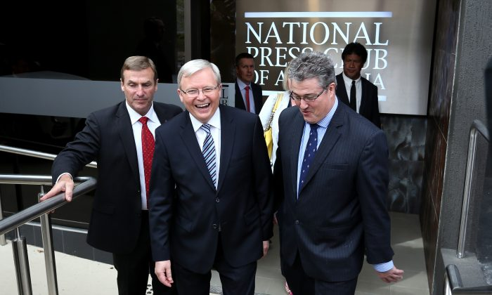 Australian Prime Minister, Kevin Rudd, leaves the National Press Club in Canberra, Sept. 5. Rudd has struggled in polls one week before the election. (Stefan Postles/Getty Images)