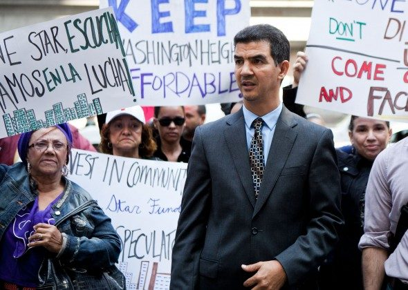 Council Member Ydanis Rodriguez at a community protest on Sept. 27 2012 in Midtown Manhattan. (Amal Chen/The Epoch Times)