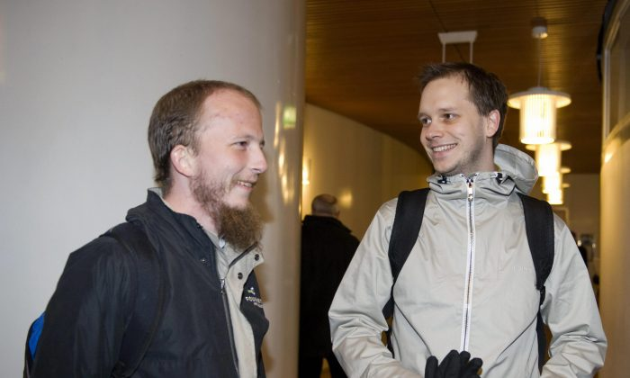 File picture of Gottfrid Svartholm and Warg and Peter Sunde, the founders of Pirate Bay, arriving for their trial at Stockholm city court in 2010. (Bertil Ericson/AFP/Getty Images)