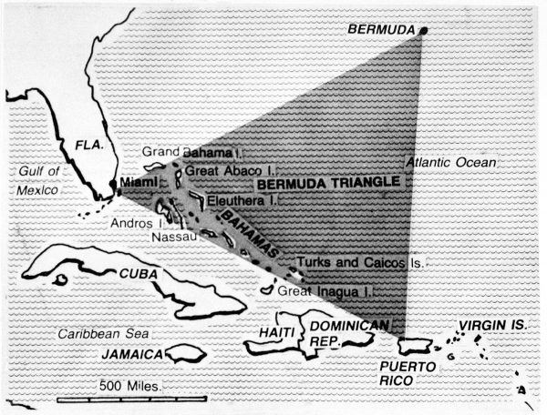 This Chicago Tribune map depicting the Bermuda Triangle, Shown on Feb. 5, 1979. (AP Photo)