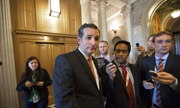Sen. Ted Cruz (R-Texas),  at the Capitol on Sept. 23, 2013. A U.S. representative said that it is clear Cruz is going to run for president in 2016. (AP Photo/J. Scott Applewhite)