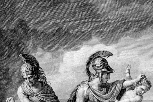 An engraving showing the child Astyanax thrown from the walls of Troy as his mother Andromache looks on. (public domain image/Wikimedia Commons)