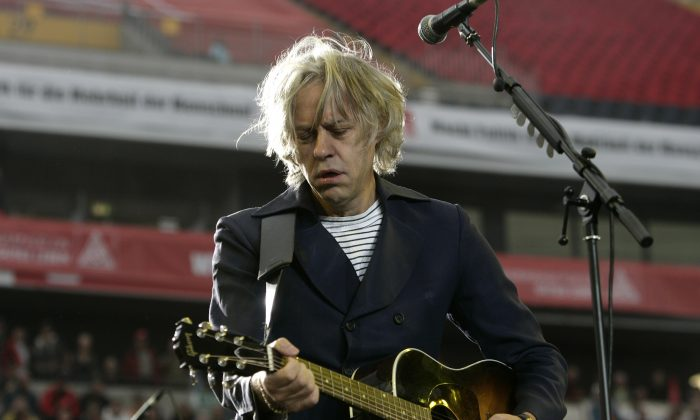 Singer Bob Geldof performs during a rally of the German metal workers union IG Metall (IGM) at the Commerzbank Arena in Frankfurt, Germany, on Sept. 5, 2009. (Ralph Orlowski/Getty Images)