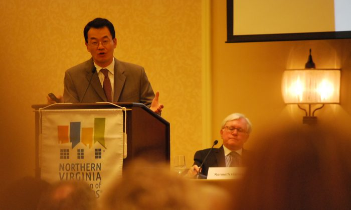Dr. Lawrence Yun, Chief Economist, National Association of Realtors, discussed national economic trends affecting the local real estate market at the 2013 Economic Summit, hosted by the Northern Virginia Association of Realtors (NAR)at the George Mason Inn and Conference Center in Arlington, Va. Sept. 5. (Ron Dory/ Epoch Times)