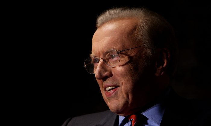 Sir David Frost attends a media conference at the Sydney Theatre Company in Sydney, Australia, on Feb. 1, 2011. (Lisa Maree Williams/Getty Images)
