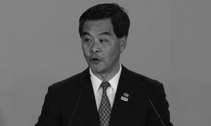 Hong Kong Chief Executive Leung Chun-ying speaks on July 1, 2013 in Hong Kong. The speculation in Hong Kong is that he has displeased Beijing and will not last much longer as chief executive. (Anthony Wallace/AFP/Getty Images)
