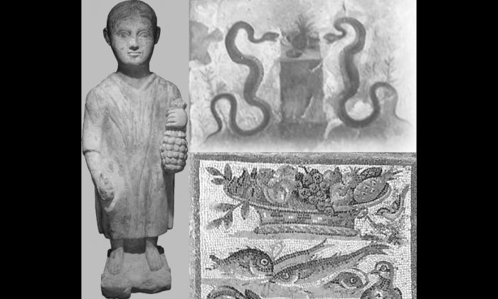 """Three depictions of pineapples from the Roman era. The statue is from the third century A.D. and is now in the Musée d'Art et d'Histoire of Geneva. At the top right, a fresco in """"Casa dell'Efebo"""" in Pompeii, and at the bottom right, an Augustan age mosaic, now in the palace """"Massimo"""" of the National Museum of Rome. (Lucio Russo)"""