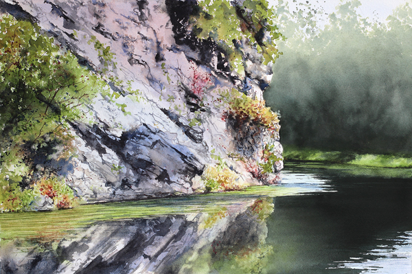 Bend in the Canal by Jill Poyerd (Potomac Valley Watercolorists)