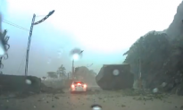 Taiwan: Boulder Nearly Crushes Car (Raw Video)