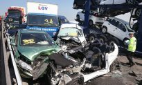Kent, England: 130-Car Crash at Sheppey Crossing, East of London
