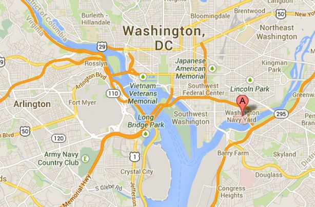 Washington Navy Yard in southeast Washington, D.C., where a mass shooting took place on the morning of Monday, Sept. 16, 2013. (Google Maps)