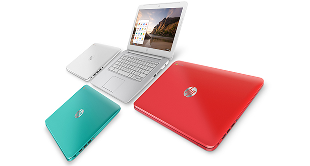 Partnering with Google and Intel, HP announced its new 14-inch Chromebook in a variety of colors. (HP)