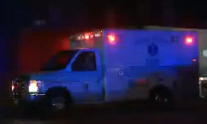 A screenshot of WSAZ-TV shows an ambulance in Huntington, West Virginia, on Tuesday.